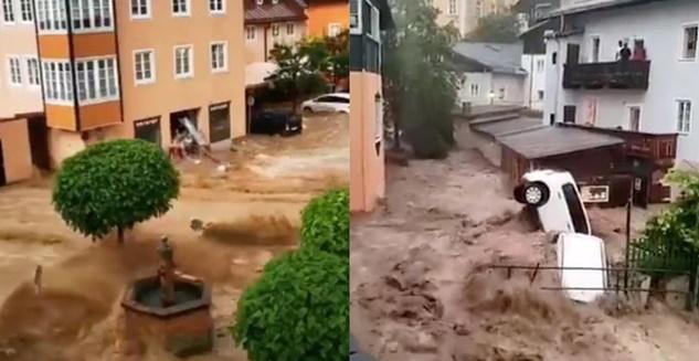 flooding in hallein austria